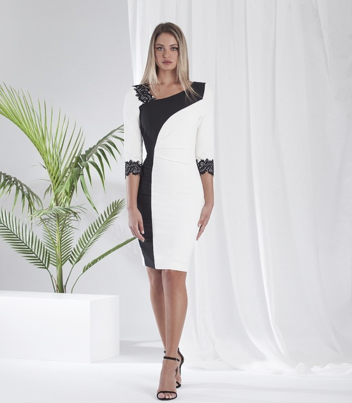 Two-tone dress with French sleeves