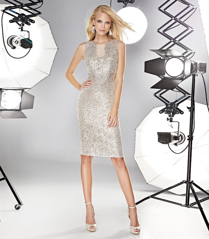 Short sequin dress with transparency at the neckline